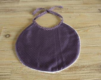 purple with silver polka dots baby bib