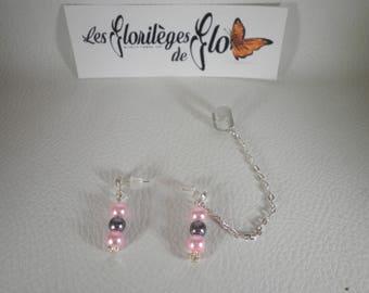 02172 - Ear cuff / Ear cuff your pink & grey