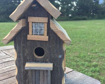 Barnwood Birdhouse/tall cabin-style birdhouse/ functional birdhouse