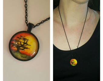 African Tree Sunset Necklace