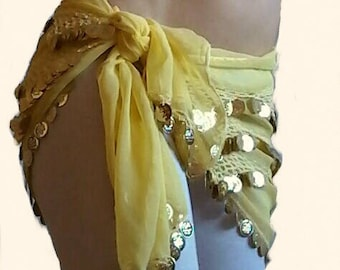 Scarf yellow sequins for belly dance belt