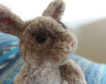Needle felted rabbit, bunny sculpture, pet, fluffy sculpture animal