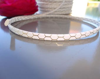 flat leather, white and gold, width 8 mm, honeycomb, calf leather, for bracelet