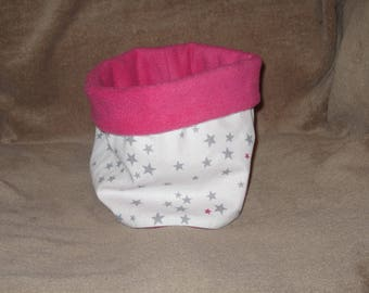 snood for children, pink Fuchsia star grey and raspberry - soft and warm - customizable