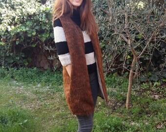 Long vest faux fur sleeveless