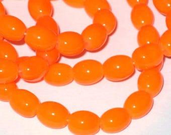 Set of 20 neon Orange 7x6mm oval glass beads