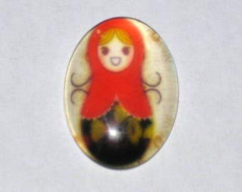 """Red Russian Doll"" glass cabochon 18x25mm"