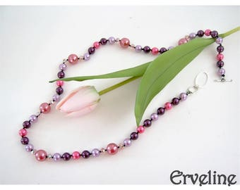 Long necklace beads knotted on silk Erveline