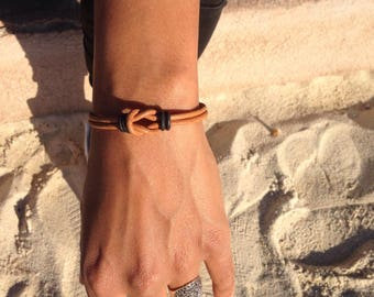 Bracelet unisex infinity brown leather available in black leather free shipping in France