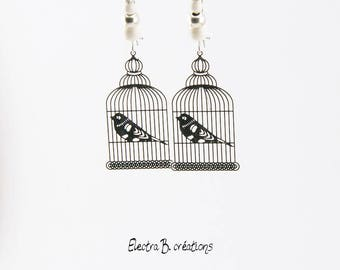 Bird cage Ivory Pearl and Silver earrings