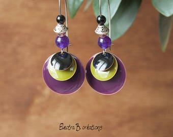 Earrings long sequin purple black, Khaki and silver