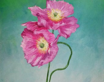 Acrylic pink poppies on A4 paper