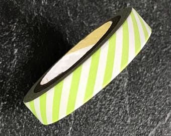 Adhesive paper tape - masking tape - 5 m - stripes or features slash green and white