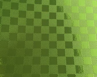 A4 cardstock holographic embossed shiny - different patterns - vivid - green / checkerboard pattern