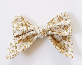 Antique Yellow Floral Fabric Bow Headband OR Clip