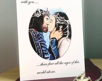 Lord of the Rings Greeting Card. Arwen and Aragorn kissing scene from Return of The King.