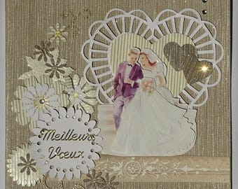 Greeting card for a wedding with a cut out heart