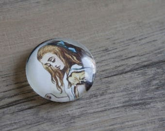 1 cabochon 25mm glass pattern alice in Wonderland