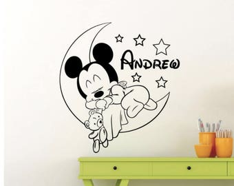 Personalized Custom Mickey Mouse Wall Decal/ Custom Baby Name Home Decor