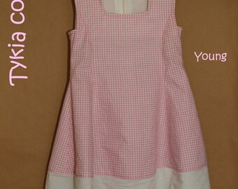 Young - Girl pink and white gingham cotton dress
