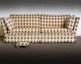Antique / vintage 3 seater high arm sofa in checkered fabric & footstool