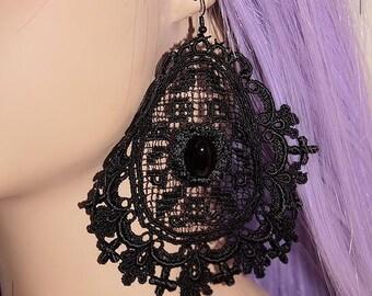 Black Gothic Black Lace earrings