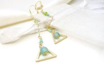 Minimalist earrings long geometric triangle on chain