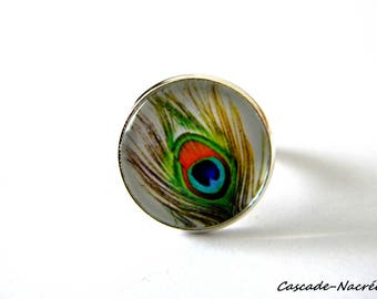 ring cabochon Peacock feather green orange silver photo glass Dome bead