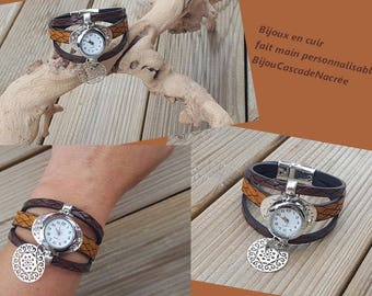 Watch leather cuff Brown camelle stainless steel personalized gift idea for woman