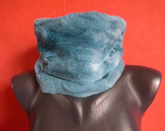 fur scarf around neck snood child girl teal