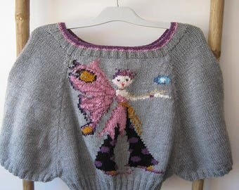 Butterfly Fairy gray poncho sweater