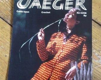 Vintage Jaeger Crochet Jacket Pattern design no. 4258 - 1970s