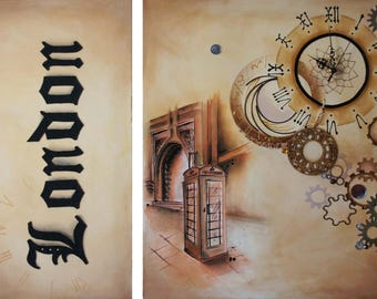 It's Time London painting! Diptych