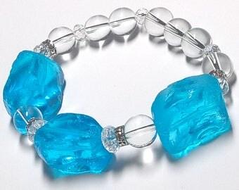 Bracelet with natural quartz, bracelet with aqua quartz, natural rhinestone, natural quartz, talisman for businessmen, Luck charm for luck