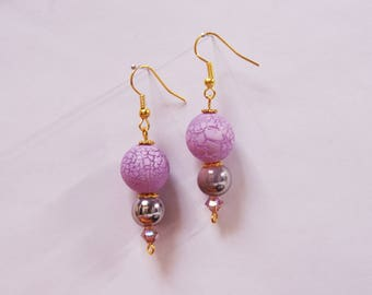 Pink and purple glass beads earrings