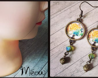 Bronze and glass bead earring