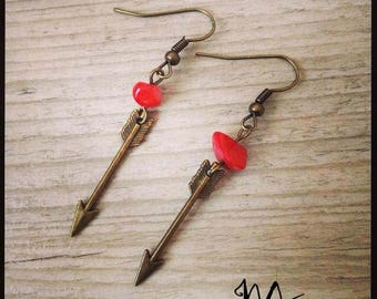"""Earring """"coral Indian"""" bronze"""