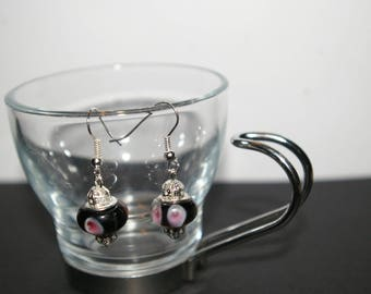 Black and pink glass Pearl Earrings