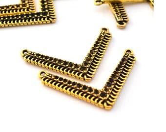 2 ranks herringbone gold 38.5 mm metal connectors
