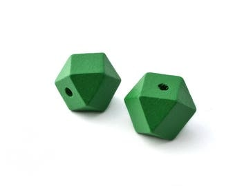 2 large polygons 2cm green wooden beads