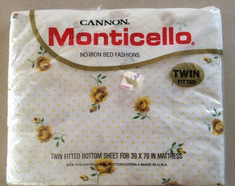 Vintage Cannon Monticello Twin Fitted sheet Rose Dream Pattern