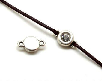 TOP CASE! In-between Element Swarovski® - circular (12mm) - eyes (2mm) - silver and Crystal