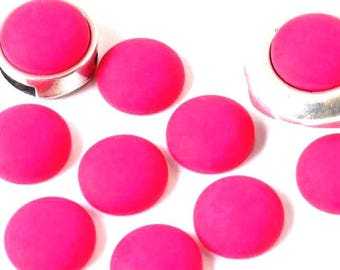 Cabochon resin - Matte color - (12mm) circular - Fuchsia