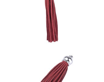Charms pendant - synthetic (10cm) tassel - Burgundy and silver
