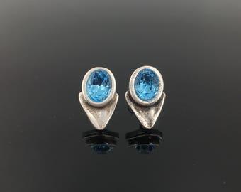 Uno de 50 style earrings, Swarovski Elements earrings, vintage earrings, silver earrings, crystal earrings