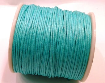 5 m turquoise 1 mm waxed cotton cord