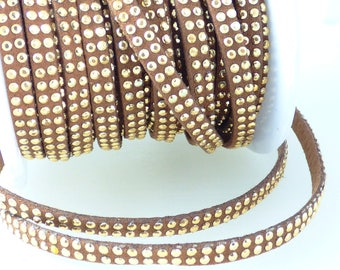 1 m brown suede with Rhinestone