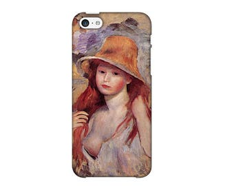 Case for iPhone 4-5-6-7, girl with straw hat Pierre-Auguste Renoir