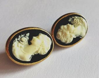 Vintage cameo Earrings 925 Silver L'officiel