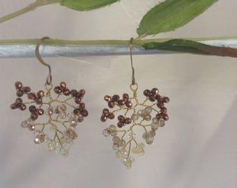 "Earrings lilac shaded Swarovski Crystal, model ""autumn leaves"""